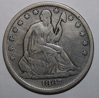 1867-S Seated Silver Half Dollar OP25