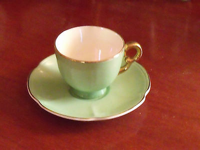 Vintage Crown Devon Fieldings Green And Gilt Cup And Saucer