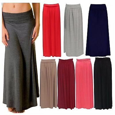 Womens Ladies Turn Up Waist Long Plain Jersey Flared Maxi Skirt Plus Size 8-22