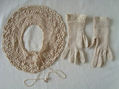 Vintage Crochet Hand-knitted Gloves and Collar
