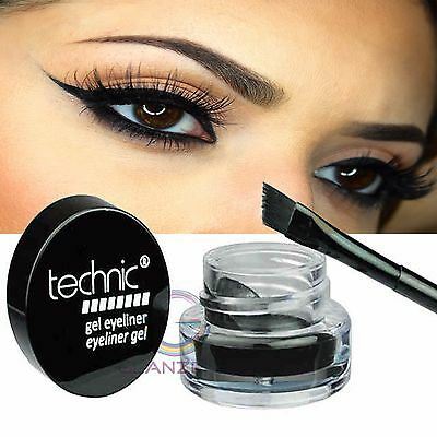 Technic Electric Beauty Gel Eyeliner & Brush Long Lasting Waterproof Eyes Makeup
