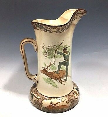 "Antique Underglaze Buffalo Pottery Pitcher Marked 1907 - 8 1/4""H"