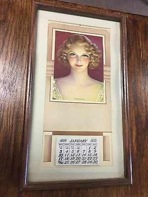 Vintage 1943 Calendar Thinking of You GIrl Pin Up