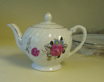 Vintage Floral Teapot with Pink Roses Gold Trim Made in Japan MINT