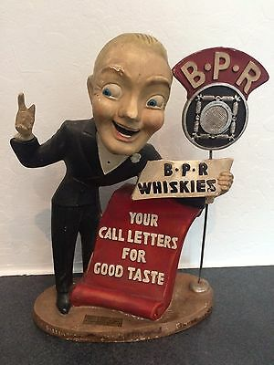 Rare B.P.R Whiskies 1930's Figural Whiskey Display - Announcer w/ Microphone