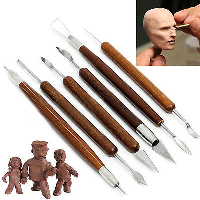 Engraving Tool Clay Sculpting Set Carving Pottery Wooden Handle 6PCS DIY New
