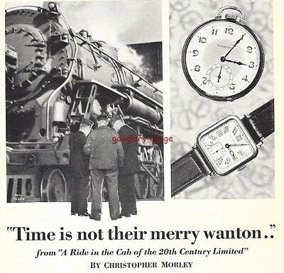 1928 Hamilton Watch Vintage Print Ad Ride In The Cab Of The 20th Century Limited