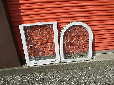 Vintage Antique Leaded Glass  Window Top And Bottom Sash
