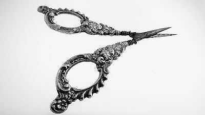 Sterling Silver Antique Victorian Sewing Scissors - Blade Extra Sharp