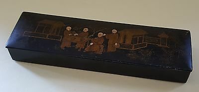 Japanese lacquered wood vintage Art Deco antique stationary pencil box case