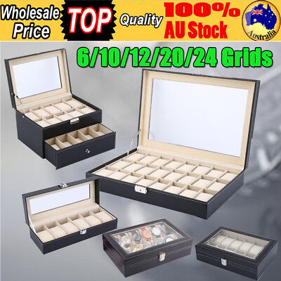 6/10/12/20/24 Grids Watch Case Jewellery Storage Box Organizer Glass Display HOT