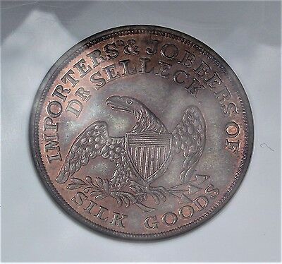1850' New York H.t. Token Ngc Ms 64 Red Brown Awsome  30/40% Mint Luster