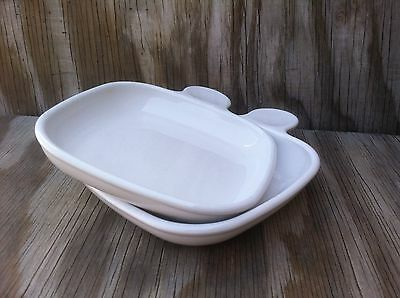 Corning Ware Heat'N Eat Set Of 2 White Microwave Or Oven Meal Dishes