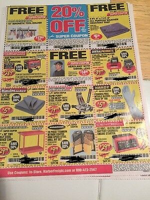4 SHEETS Harbor Freight Exp  8.23  ( 20% Off and  gifts/ Tools) Save $