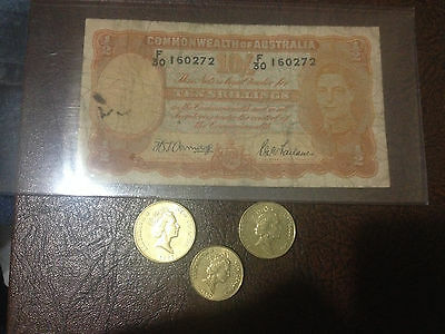 Australia 10 shilling note and Coins