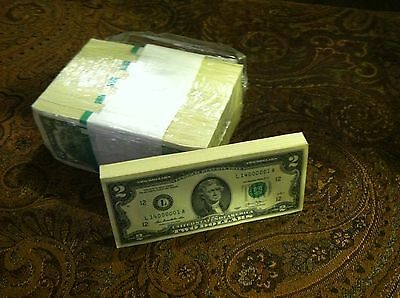 Two Dollar Bills Sequentially Numbered Crisp $2 Notes Currency Real Us Money