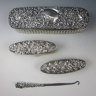 Unger Brothers Sterling 4pc Repousse Brush Set w/Button Hook Stunning!
