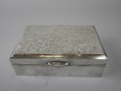 Japanese Sterling Silver Brite Cut Cigar/Cigarett or Jewelry Box with Wood Liner