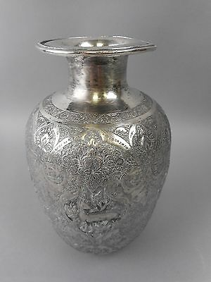 Antique Tall Middle Eastern/Persian Female Form Hand Chased Silver Vase 16.9 Ozt