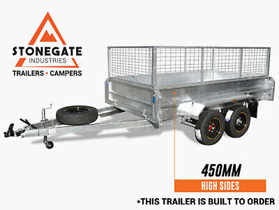 8x5 Tandem Trailer Dual Axle 450mm High Sides with 600mm Cage Hot Dipped Gal Qld