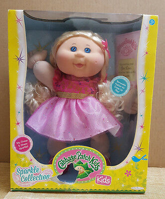 Cabbage Patch Kids Sparkle Collection Doll Pink Dress Blue Eyes -See Pictures-