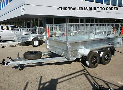 10x6 Hot Dip Gal 450MM HIGH SIDES with 600MM CAGE Tandem Dual Axle Trailer Qld