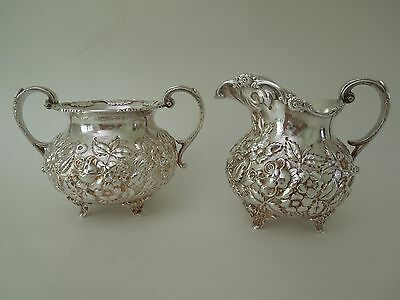 SCHOFIELD repousse sterling CREAM and SUGAR set - Baltimore Rose pattern,