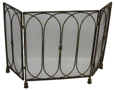 Light Burnished Gold Twisted Iron Mesh Fireplace Screen w/Tassel Feet,52.5''W.
