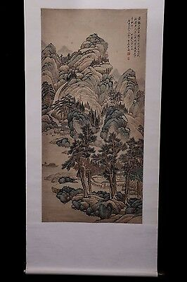 Old Rare Large Chinese Scroll Hand Painting Landscapes Marked WuDaCheng PP963