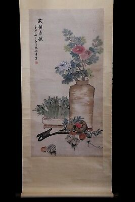 Large Old Chinese Scroll Hand Painting Flowers Woman Marked ZhangNaiQi PP965