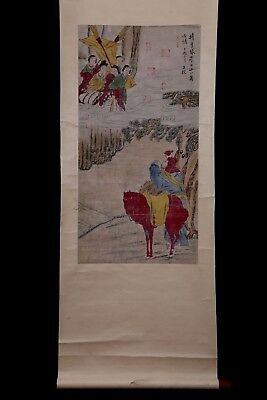 Wonderful Long Rare Old Chinese Scroll Hand Painting Figures WangFu Marks PP924