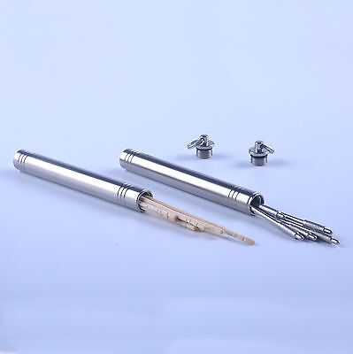 Titanium Pocket Toothpick Holder Case Container KeyChain Keyring (Groove)