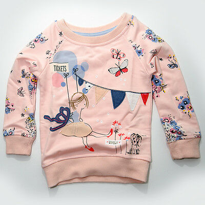 Girls Pink Little Girl Sweat Top T-shirt