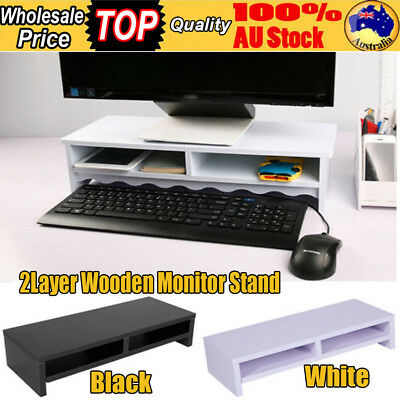 2 Layers Wooden Monitor Stand LED LCD PC Desk Mount Bracket for Computer Home