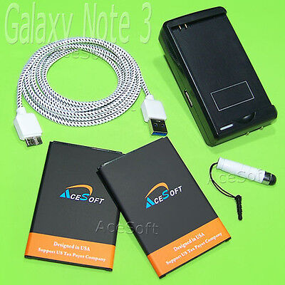 2x 4970mAh Battery Wall Charger USB Cable Pen for Samsung Galaxy Note 3 N900R4