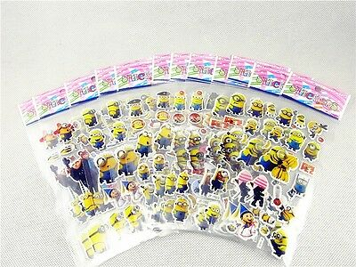 3D Kids Favorite  Minions Children Stereoscopic Stickers Lot Of 12 sheets