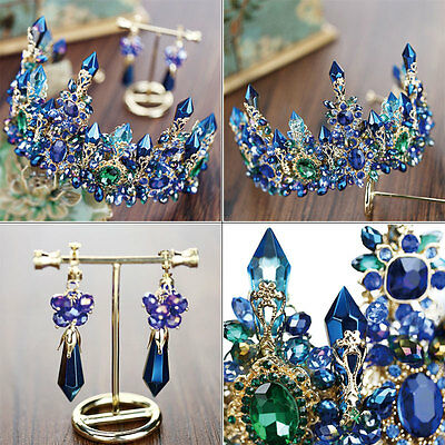 Gorgeous Royal Blue Crystal Queen Crown Pageant Prom Wedding Jewelry Headdress