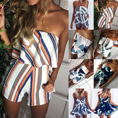 UK Summer Womens Holiday Mini Playsuit Ladies Jumpsuit Beach Shorts Mini Dress