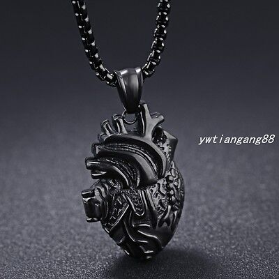 Black Heart Shape Pendant Chain Fashion New Stainless Steel Men Women Necklace