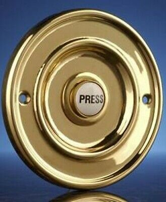 "Wired Door Bell Push Button Brass, Flush Fitting, 63mm (2.5"") Model 2207P1Bs"