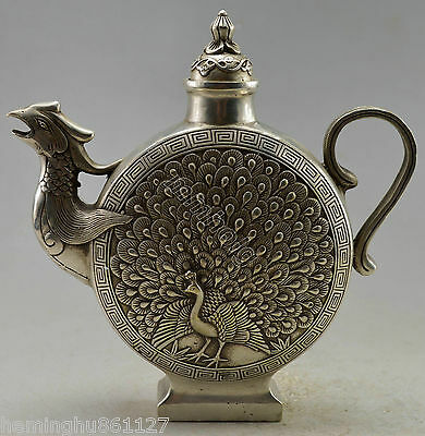 Collectible Decorate Old Handwork Silver Plate Copper Carve Peacock Bird Tea Pot