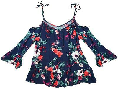 Womens Top Flowers ¾ Sleeve Blouse Cold Shoulder Sun UK Plus Size 8 to 18