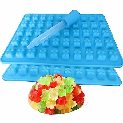 50 Cavity Chocolate Ice Tray Bear Silicone Maker Candy Mold Gummy Dropper GS
