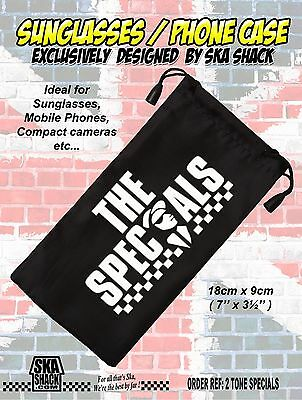THE SPECIALS sunglasses / phone case. soft pouch. Ska 2 tone. EXCLUSIVE