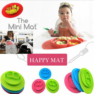 Silicone Happy Mat Baby Kids Child Suction Table Food Tray Placemat Plate Bowl G