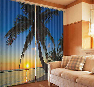 Cocount And Sundowner 02 3D Curtain Blockout Photo Print Curtains Fabric Window