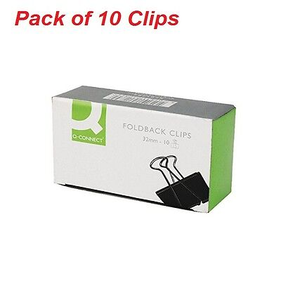 Metal Foldback Clips Office Staionery Documents Sheets Paper Black Pack of 10
