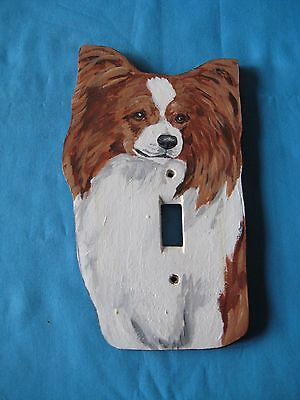 Papillon Red/White Wooden Handpainted Lightswitch Plate - New and Unique