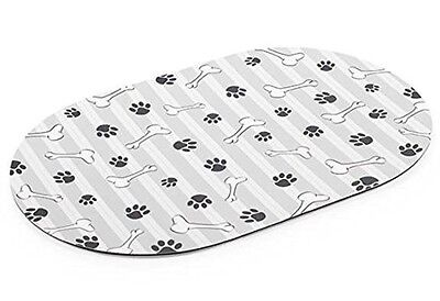 Ancol Feeding Place Mat for Dogs Cats Water Food Grey Stripe