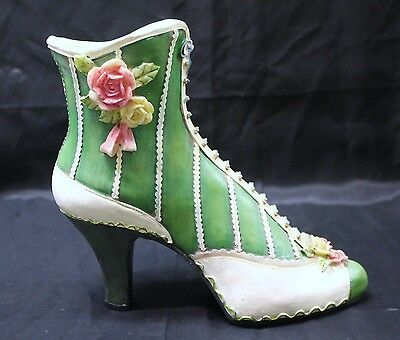 Collectible Resin Ceramic Green Decorative Boot with roses ~ 7 inches tall